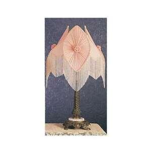 Meyda Lighting 28'H Fabric & Fringe Pink Pontiff Table Lamp, Pink W/Bdh - 19227