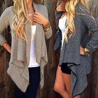 US Women's Waterfall Cardigan Sweater Jacket Coat Long Sleeve Irregular Outwear