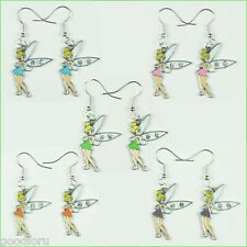 5 pairs Rhinestones Tinker Bell Fairy Earrings Girls Birthday Party Favor Gifts