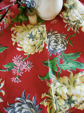 Antique Vintage Dahlia Mum Cotton Fabric~Crimson Red Yellow Pink Gray ~1930 1940
