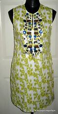KAS NEW YORK SLEEVELESS TOBY FLORAL DRESS EMBELLISHED JEWELS NEIMAN MARCUS MED.