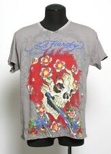 Men's Ed Hardy Christian Audigier GRAY BEAUTIFUL GHOST V_NECK T-Shirt S-XXL