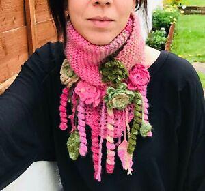 Alize hand crochet pink-green colors collar-batik yarn boho flowered shawl