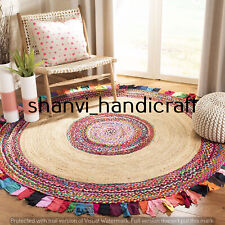 Braided Handmade Round Natural 210 CM Jute Cotton Woven Floor Carpet Area Rugs