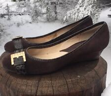 MICHAEL KORS Brown Suede/Croc-Stamped-Leather Buckle Ballet Wedge Size 7M