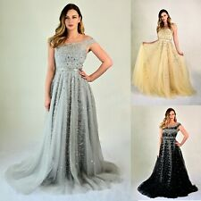 Womens Ball gown Sleeveless Off Shoulder Floor-Length Embellished Tulle Dress