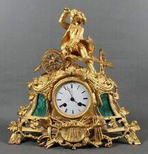 FRENCH BRONZE AND MALACHITE CLOCK