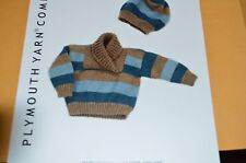 Plymouth Knitting Pattern 1877 Baby Striped Pullover & Hat  0-24 months
