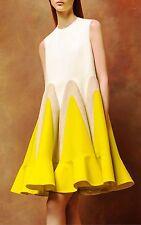 Delpozo NWT Yellow Tan Color Block Panels Architecture Flared Poplin Mini Dress