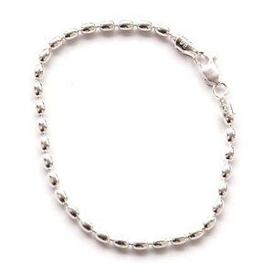 St. Silver Women's Charleston Rice Bead Link 10-inch Anklet Ankle Bracelet 4x3mm