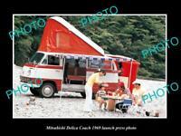 OLD POSTCARD SIZE PHOTO OF 1969 MITSUBISHI DELICA COACH LAUNCH PRESS PHOTO
