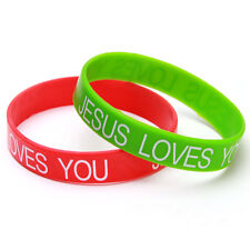100x Lots Silicone JESUS LOVES YOU Letters Wristbands Mixed Colors One Size L