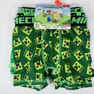 Boys Minecraft Athletic Boxer Briefs XS 4 Kids Underwear (3 Pack)