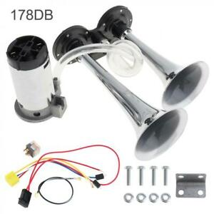 12V 178DB Super-loud Dual Trumpet Air Horn Compressor Kit For Car Truck RV Train