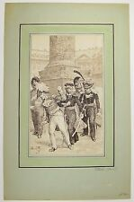 CHARLES HENRI PILLE Original SIGNED Ink Sketch Military Officers France C1890