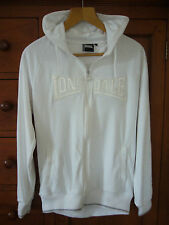 "NEW Ladies Embroidered ""Lonsdale London"" White Hooded Zipped Sweatshirt Size 12"