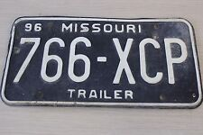 Vintage 1996 Missouri Trailer Single License Plate 766-XCP
