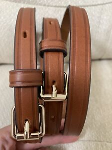 DOONEY & BOURKE DARK BROWN LEATHER GOLD CLIP-ON REPLACEMENT LONG SHOULDER STRAP