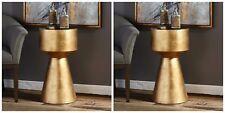 "TWO 26"" METALLIC GOLD LEAF &  BLACK GLASS MODERN ACCENT SIDE END TABLE PEDESTAL"
