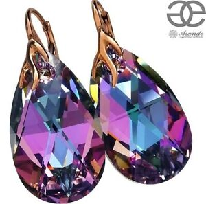 NEW! ORIGINAL CRYSTALS EARRINGS *VITRAIL* ROSE GOLD SILVER 925 CERTIFICATE