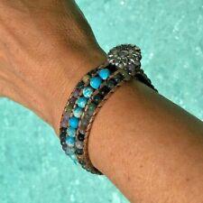Chakra Bracelet Homme Femme Pierres Naturelles Turquoise  Cuir tressé