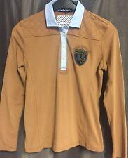 """Damen Poloshirt """"Campione"""" Langarm, Hellbraun mit hellblauem Kragen Gr. 38"""