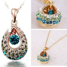 Chic 18k gold Teardrop Colorful Rhinestone Crystal Necklace Pendent Chain Gift