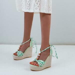 Womens Wedge High Heels Floral Ankle Strappy Sandal Bohemian Platform Beach Shoe