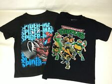 Lot of 2 Spider-Man Ninja Turtles Short Sleeve T-Shirts Sizes S 5/6 & S