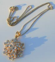 """14K Yellow GOLD ON STERLING SILVER Diamond Accent Flower Pendant & 18"""" Necklace"""