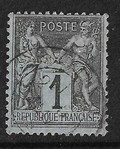 """FRANCE 1877 """"SAGE"""" type 2 - 1 Cent Black on Blue - SG 245  Fine used"""