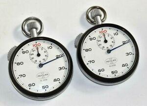 Lot of 2 Vintage Meylan Mechanical Windup No. 208 Stop Watch Swiss Made Working