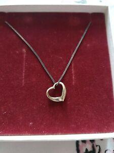 H Samuel Silver 925 Heart Pendant