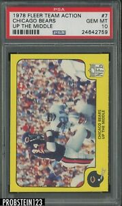 1978 Fleer Team Action Football #7 Chicago Bears Up The Middle PSA 10