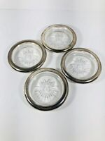 Vintage Leonard Glass and Silver Plated Coasters Starburst Pattern -  Set Of 4