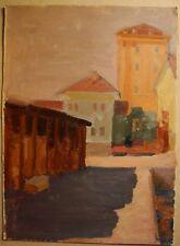 Russian Ukrainian Soviet Oil Painting Postimpressionism architecture town