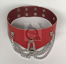 Ladies Fetish Collar With Chains Heavy Red BDStyle