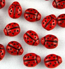 20pcs Ladybug Czech Glass Beads Red Jewelry Making Craft Loose Spacer 7x9mm