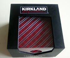 NIB KIRKLAND Men's 100% Silk Tie- RED & GRAY GEOMETRIC DESIGN/ITALY--GREAT GIFT!
