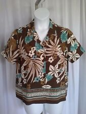 SIZE 14P - New $42.00 ALFRED DUNNER Petite Sea Foam Green Brown Tan Ivory Shirt