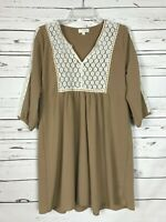 Umgee Boutique Women's S Small Tan Beige Ivory Lace Cute Spring Tunic Top Blouse