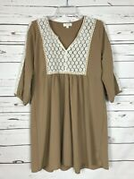 Umgee USA Boutique Women's S Small Tan Ivory Lace Cute Spring Tunic Top Blouse