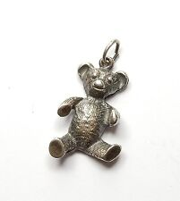 Vintage 925 Sterling Silver Beautifully Detailed Teddy Bear Pendant 4.6g