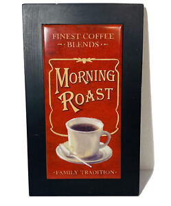 """Morning Roast, Coffee theme, wall decor wood sign Red Gold Black 10"""" x 6"""""""