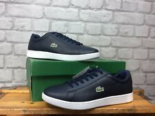 LACOSTE MENS UK 10 EU 44.5 NAVY WHITE CARNABY EVO LEATHER TRAINERS
