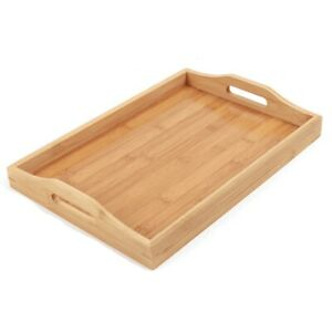 Serving Tray Bamboo - Wooden Tray with Handles - Great for Dinner Trays Tea Tray