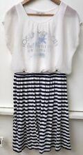 Women's Striped Skirt Sheer Overlay Miami City Summer Beach Dress sz 32/ US4