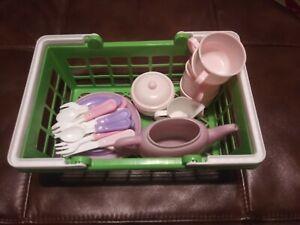Kids Plastic Tea Set With Basket
