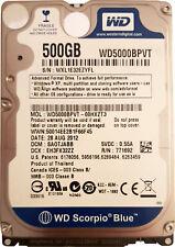 """WD 500 GB 5400 RPM 2.5"""" WD5000BPVT SATA Internal Hard Drive Blue"""