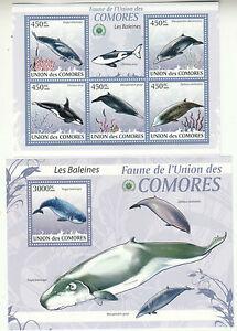 Komoren Comores 2009, Animals, Wale Whales Baleines compl. 5+1